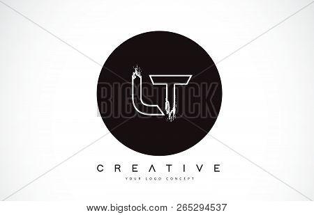 Lt Modern Leter Logo Design With Black And White Monogram. Creative Letter Logo Brush Monogram Vecto