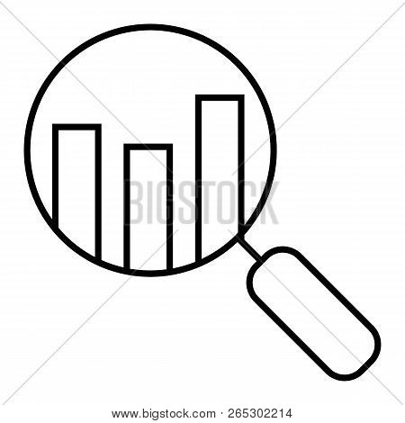 Analyze Thin Line Icon. Lens With Chart Vector Illustration Isolated On White. Search Graph Outline