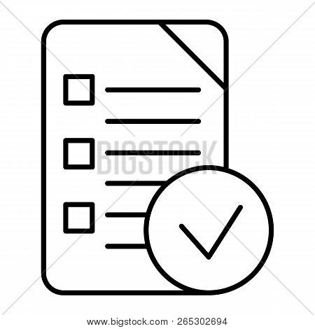 Chek List Thin Line Icon. Clipboard Vector Illustration Isolated On White. Document Outline Style De
