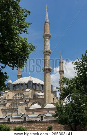 Architectural detail of Built by architect Mimar Sinan between 1569 and 1575 Selimiye Mosque  in city of Edirne,  East Thrace, Turkey poster
