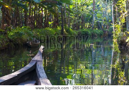 Traditional Boat Of Kerala Backwaters Floats Through The Jungle. Backwaters In Kerala Is A Network O