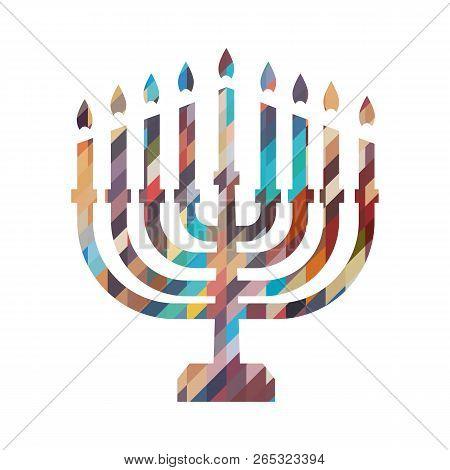Hanukkah Candles Icon Isolated. Jewish Festival Of Lights Celebration, Festive Background With Menor