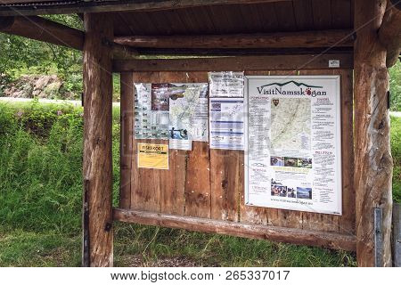 Namsskogan, Norway - July 29, 2018: Stand For Tourists With Fishing Rules On The Banks Of The Namsen