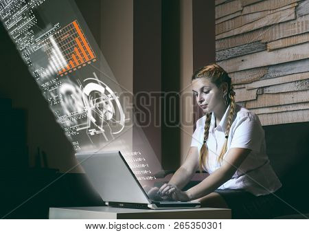 Woman Working On Laptop At Home And Digital Screen With A Infographic Data.