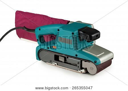 professional, powerful belt sander on white background poster
