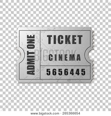 Realistic Silver Cinema Ticket Isolated Object On Transparent Background. Cinema, Theater, Concert,