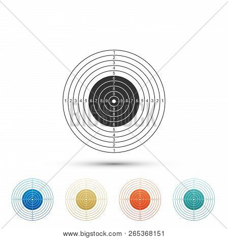 Target Sport For Shooting Competition Icon Isolated On White Background. Clean Target With Numbers F