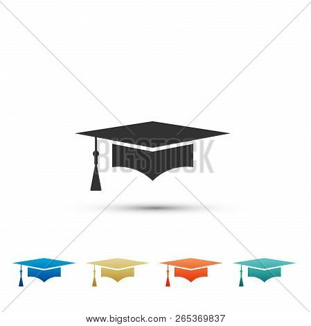 Graduation Cap Icon Isolated On White Background. Graduation Hat With Tassel Icon. Set Elements In C