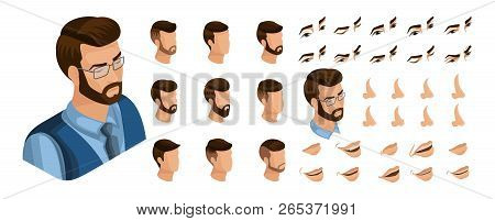 Isometric Create Emotions For Your Character, Young Entrepreneur, Business Man. Set Of Stylish Hairs