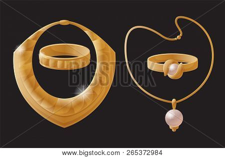 Golden Jewelry Pieces Made Of Gold, Necklaces Chains And Ring, Carcanet Bracelet Collection, Elegant