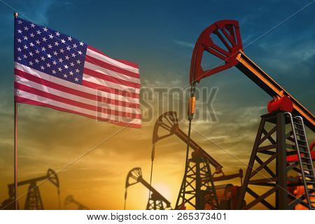 Usa Oil Industry Concept, Industrial Illustration. Fluttering Usa Flag And Oil Wells On The Blue And
