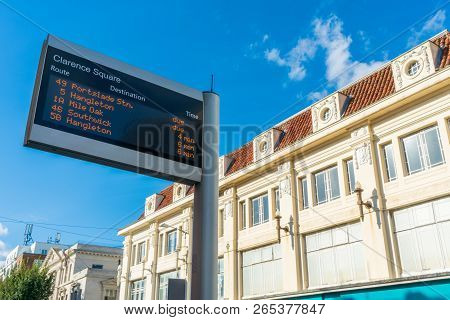 Digital Electric Led Display Showing Timetable Schedule At Uk Bus Stop For Passenger. Brighton Displ