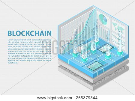 Blockchain Isometric Vector Illustration. Abstract 3d Infographic For Blockchain Related Topics