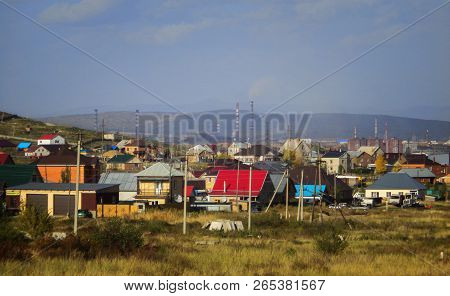 The suburb of the city of Ust-Kamenogorsk (Kazakhstan). City outskirts poster