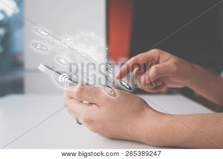 Woman Hand Using Smartphone With Icon Technology Communication And Internet Of Things (iot). Innovat