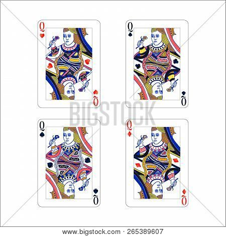 Set Of Queen Playing Card With Different Suits Like Diamonds, Clubs, Hearts And Spades Isolated On W
