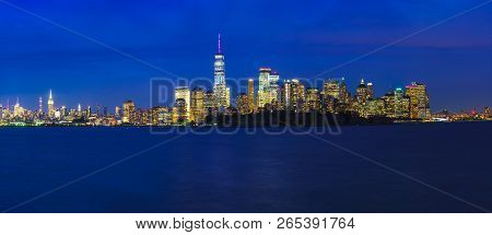 Manhattan Skyline New York City At Dusk, Nyc Usa