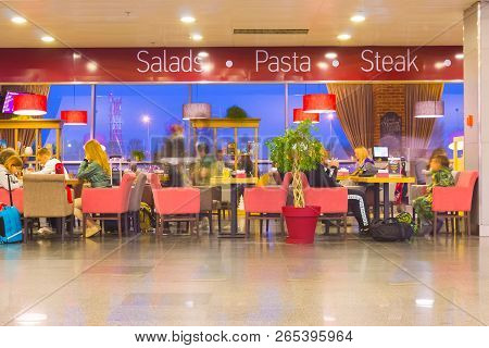 Boryspil, Ukraine - April 28, 2018: The People Resting At Cafe Departures Hall In International Airp