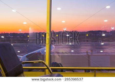 Boryspil, Ukraine - April 28, 2018: The Departures Hall In International Airport Boryspil Or Kbp. Ar