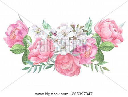 Peonies Blooming And Leaves Isolated On White Background. Hand Drawn Watercolor Posy Of Pink Peony B