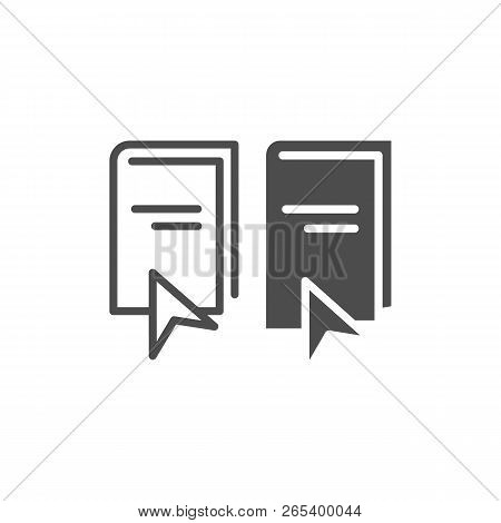 Ebook Line And Glyph Icon. Elearning Vector Illustration Isolated On White. Electronic Book And Curs