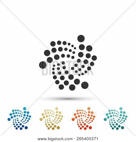 Cryptocurrency Coin Iota Miota Icon Isolated On White Background. Physical Bit Coin. Digital Currenc