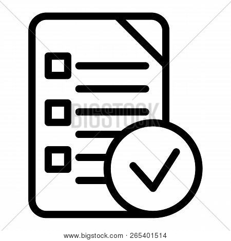 Chek List Line Icon. Clipboard Vector Illustration Isolated On White. Document Outline Style Design,
