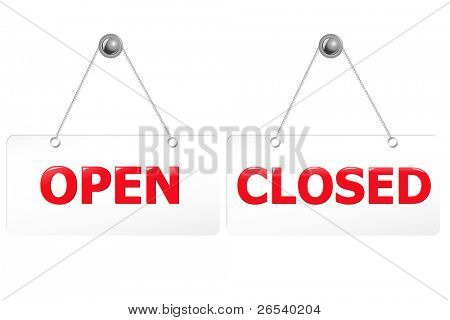 2 Glossy Open And Closed Door Signs Board, Isolated On White Background