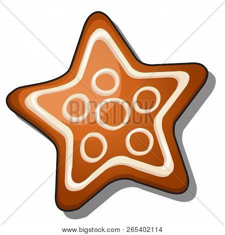 Cookies In The Shape Of A Star With Icing Isolated On White Background. Vector Illustration.