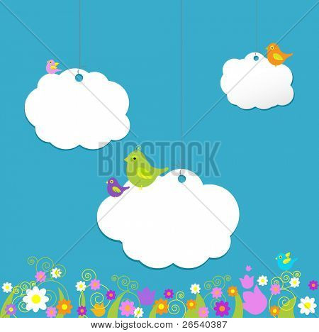 Birds On Clouds, Vector Illustration