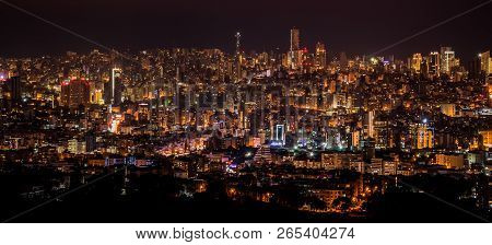 Beirut, Lebanon - December 9, 2016: Night City Background, Beautiful Urban Cityscape, Beirut With St