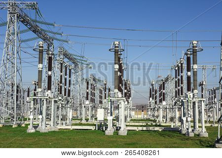Electrical Station. High Voltage Equipments On Power Station. Industrial Distribution Of Electricity