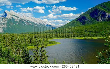 View Of Vermillion Lakes Viewpoint At Banff, Alberta, Canada