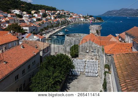 Korcula, Croatia, August 1, 2018: Korcula, A Historic Fortified Town On The Adriatic Island Of Korcu