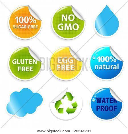 Eco Symbols Eco Labels Set, Isolated On White Background, Vector Illustration
