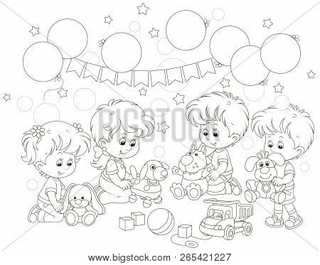 Small Children Playing Funny Soft Toys In Their Playroom, Black And White Vector Illustration In A C