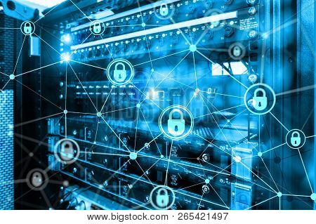 Cyber Security, Information Privacy, Data Protection Concept On Modern Server Room Background. Inter
