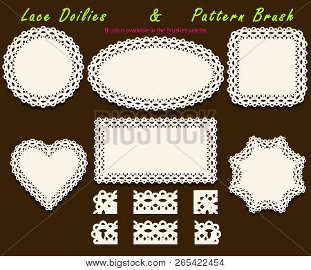 Set Of Delicate Openwork White Lace Pattern Brush And Different Lacy Napkins, Doilies And Tracery El