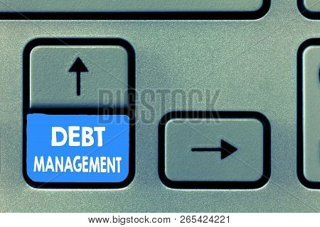 Writing note showing Debt Management. Business photo showcasing The formal agreement between a debtor and a creditor poster