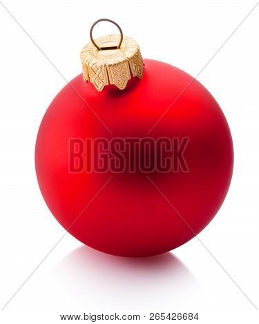 Christmas Red Bauble Isolated On White Background