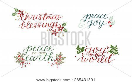 Collection With 4 Holiday Cards Made Hand Lettering Christmas Blessings Peace To The Earth. Joy To W