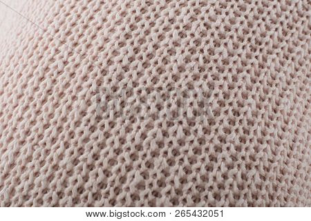 Textile Soft Knitted Closeup Background Pink And Beige Color