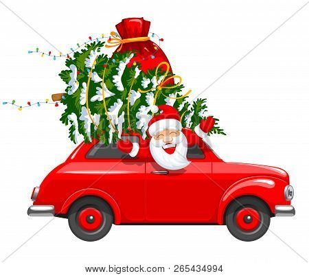 Happy New Year And Merry Christmas. Cute And Cheerful Santa Claus Drives An Red Retro Car With A Chr