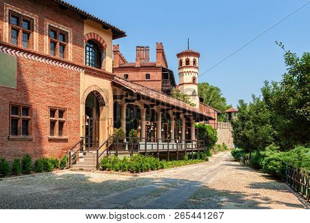 Walkway along reconstructed medieval village in Valentino Park in Turin, Italy.