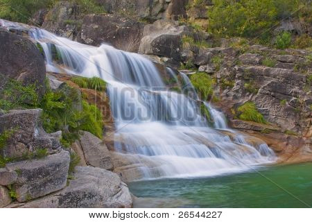 Waterfall in National Park in Geres Portugal