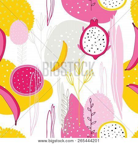 Exotic Colorful Tropical Fruits Dragon Fruit Pitaya Pitahaya Bananas Flowers Leaves Abstract Element