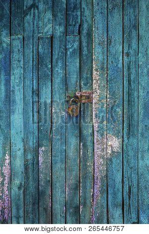 Old Lock On The Door. Lock On The Door Of An Old Farmhouse. True Village Style.