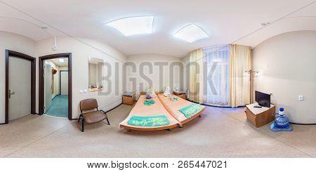 Minsk, Belarus - December, 2013: 360 Panorama View In Bedroomin Small Hotel, Full Seamless 360 Degre