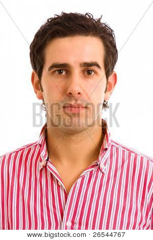 Close up of young casual man portrait, isolated on white