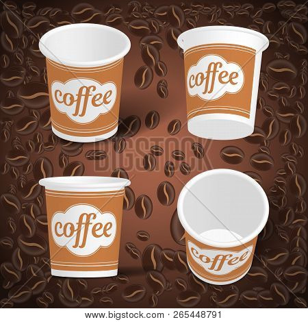 Vector Cardboard Glass For Coffee On The Background Of Coffee Beans